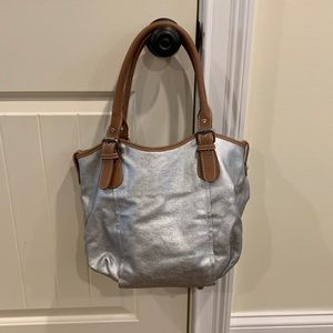 Boden Silver Coated Canvas & Leather Tote